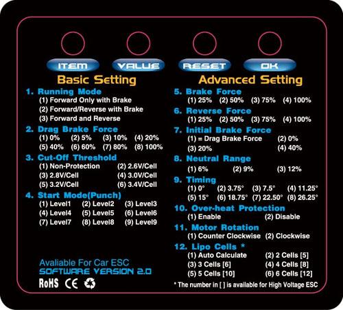 Hobbywing Program Card инструкция на русском - фото 2